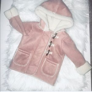 BABY B'gosh faux suede hooded blush pink coat 9M